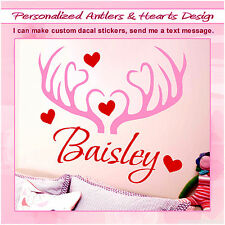 Personalized Name & Deer Antlers Hunting Girl Wall Decal Vinyl Sticker Decor 086