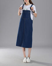 Women Casual Denim Strap Dungaree Dress Jeans Overalls Suspender Straight Skirts