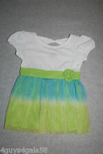 Toddler Baby Girls Dress WHITE TOP Rosette TURQUOISE LIME GREEN Open Back 12 MO