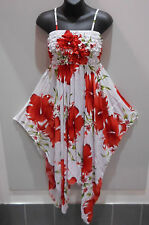 Dress Fit M L XL White Red Floral Fantasy Ruched Chest Fantasy Hem NWT DC674