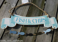 Hanging FISH & CHIPS and chips Plaque Sign Nautical Seaside Themed Home Decor