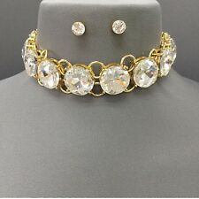 "12"" gold big .75"" crystal choker collar bib necklace post earrings statement"