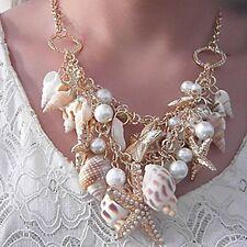 Neu klobig Gold Ton Muschel Seestern Perle Lätzchen Erklärung Halskette für Lady
