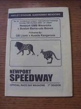 19/10/2003 Speedway Programme: Newport GMB Mavericks v Boston Barracuda Braves &