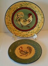 Chez Rooster Dinner Plates 222 Fifth Dinnerware Colorful Folk Art Country Dishes