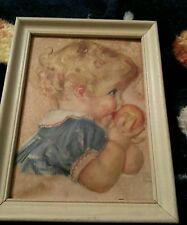 Vintage 6x8 third dimension Pictures Genuine ARTOGRAPH Baby Toddler eating Peach
