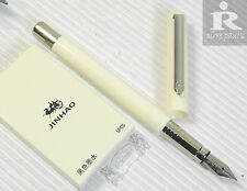 Pirre Paul's F 101 Fountain Pen WHITE barrel F nib 5 JINHAO cartridges BLACK
