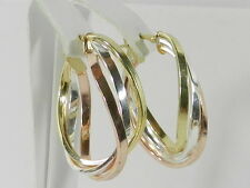 Giani Bernini Tri-Tone Twisted Hoop Earrings in Sterling Silver with Gold-Plate