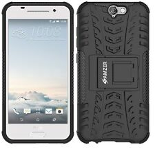 AMZER Dual Layer Rugged Hybrid Armor Warrior Case w/ Stand For HTC One A9 -Black