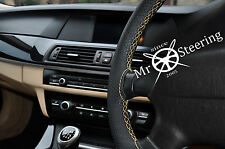 FOR FORD MONDEO MK4 PERFORATED LEATHER STEERING WHEEL COVER CREAM DOUBLE STITCH