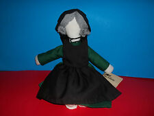"The Amish Cloth Plush Doll Green Dress Black Apron With Tag 15""  GUC"