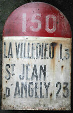 Antique french michelin road route distance marker milestone signe c1910