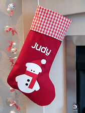 Personalised Name Luxury Snowman Christmas Stocking Red Lined - Xmas Sock Sack