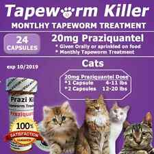 "Tapeworm Killer for Cats""24"" Capsules of Generic Droncit (20 mg Praziquantel)"