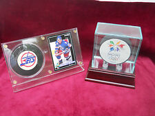 SIGNED HOCKEY PUCK BY TEEMU SELANNE WITH ROOKIE CARD PLUS 1998 OLYMPIC PUCK