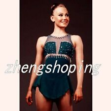 Ice Skating Dress Women's Competition Figure Skating Dress Hunter Green