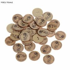 Best Quality 50 Pcs Sewing Scrapbooking Buttons Owl Wood Decorative 25mm