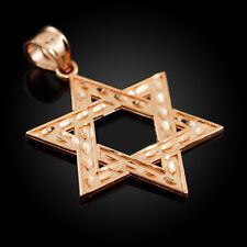 Solid 10k Rose Gold Hebrew Gift Pink Judaica Charm Jewish Star of David Pendant