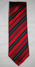 NWT Geoffrey Beene Rich Red with Black Angled Stripes Patterned Silk Tie