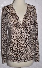 VERTIGO PARIS Cheetah PRINT STRETCH EXTRA SOFT CARDIGAN SWEATER W/ BEADS  New L