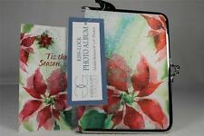 Set Of 2 Poinsettia Photo Album For 16 Pictures and Pin 'Tis The Season' NEW!