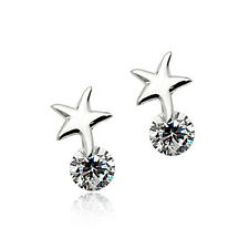 925 Sterling Silver Earrings Starfish Wish Star CZ Crystal Silver Stud Earrings