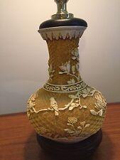 Vintage Oriental Table Lamp 1970s Retro Asian Carvings Birds Flowers