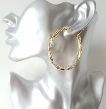 SEXY! BIG! 6cm gold tone CHUNKY TWISTED hoop earrings,   #2
