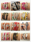 Jewelry fashion Leather Cute Infinity Charm Bracelet Silver lots Style NEW BUAU