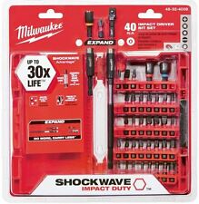 Impact Drill Bit Set Milwaukee Shockwave Steel Drilling Driver Screw (40 Piece)