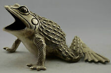 Collectible Decorated Old Handwork Silver Plate Copper Carved Frog Statue