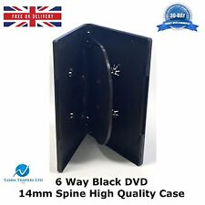 1 x 6 Way Black DVD 14mm Spine Holds 6 Discs Empty New Replacement Slim Case