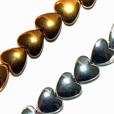MAGNETIC HEMATITE BEADS GOLD COLOR HEART BEADS 8MM BEAD STRANDS