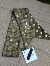 NWT COACH Brown Poppy Signature C Star Sequin Silk Ponytail Pony Tail Scarf NEW