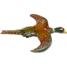 1940s Wooden Brooch Pheasant Bird Pin Carved & Painted Vintage Sporting Wood