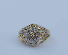 Ladies Floral Diamond Cluster Ring w/ 44 Genuine Diamonds - 10k Yellow Gold