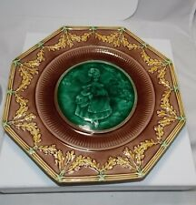 Antique Wedgwood Majolica Pictorial Victorian Lady C 1897 Mottled Glaze Plate