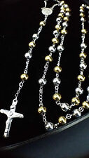 Stainless Steel Rosary Gold Silver Bead Ball Cross Crucifix Pendant Necklace