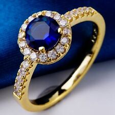 Beautiful Size 9. 1ct Blue Round Cubic Zircon 18KGP Ring+gift pouch (8329)