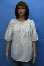 GENTLE Vtg Hungarian White H Embroidered MATYO Peasant Folk Hippie White Blouse