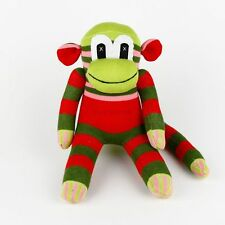 Handmade Hot Pink Striped Green Sock Monkey Stuffed Animals Doll Baby Gifts Toys