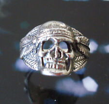 Solid 925 Sterling Silver Gothic Skull with Indian Headdress Biker Ring