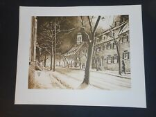 Fred Bees – Church Street Night - Sepia Lithograph - Moravian Bethlehem