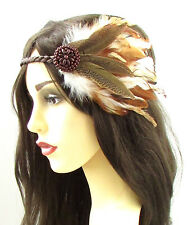 Native American Red Indian Feather Headdress Headband Brown Pocahontas Boho 618