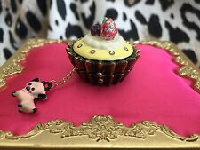 Betsey Johnson Goes To Paris Fruit Tart Cupcake Pig Box Long Locket Necklace