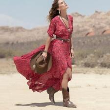 Womens Ladies Boho Floral Long Maxi Chiffon Summer Beach Party Dress Sundress B1
