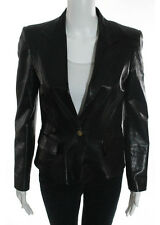 GUCCI Black Leather Perforated Side Notch Collar Long Sleeve Jacket Sz IT 42