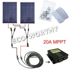 OFF GRID KIT: 200 Watt  2*100W PV Solar Panel with MPPT for 12V 24V RV Boat Home