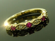 R103 Genuine 9K Yellow Gold NATURAL Diamond & Ruby Eternity Trilogy Ring size M
