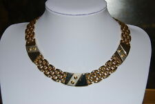 VINTAGE LARGE GOLD TONED METAL CHOKER NECKLACE WITH SILVER TONED ADORNMENTS BARS